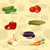 Seamless pattern vegetables: corn, tomato Stock Image