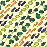 Seamless pattern of vegetables diagonally. Seamless pattern background of eggplant carrot broccoli pepper Royalty Free Stock Image