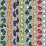 Seamless pattern of vegetables diagonally. Seamless pattern background of eggplant carrot broccoli pepper Stock Images