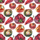 Seamless pattern with vegetables drawn by hand with colored pencil Stock Photography