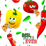 Seamless pattern of vegetables eating pizza with best pizza ever text Stock Photo