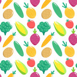 Seamless pattern with vegetables. Flat veggies vector illustration. Royalty Free Stock Photos