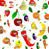 Seamless pattern of vegetables and fruits eating pizza Royalty Free Stock Image