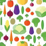 Seamless pattern with vegetables and fruits. Vector background Stock Photography