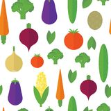 Seamless pattern with vegetables and fruits. Vector background Royalty Free Stock Photo