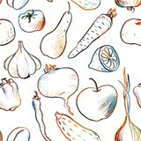 Seamless pattern with vegetables and fruits Royalty Free Stock Photos