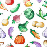 Seamless pattern with vegetables. Hand drawing watercolor. Stroke is made with ink. Vegetable background. Royalty Free Stock Photo