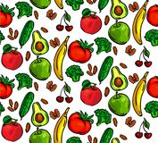 Seamless pattern vegetables stock images