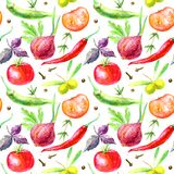 Seamless pattern of a vegetables and herbs.Picture of a pepper, olives, tomato, basil, onion,cloves. Ingredients for cooking.Watercolor hand drawn illustration Royalty Free Stock Image