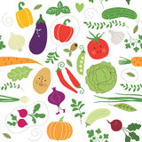 Seamless pattern , vegetables illustrations Royalty Free Stock Photos