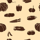 Seamless pattern vegetables silhouettes: corn, potatoes royalty free illustration