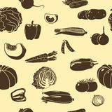 Seamless pattern vegetables silhouettes: corn, potatoes Royalty Free Stock Photography