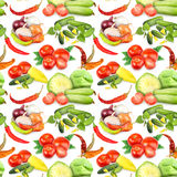 Seamless pattern with vegetables and spices Royalty Free Stock Image