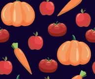 Seamless pattern with vegetables. Vegetables on black background. Tomato, carrot and pumpkin. Seamless pattern with vegetables. Tomato, carrot and pumpkin stock illustration