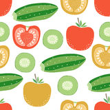 Seamless pattern of vegetables of  tomatoes and cucumbers Royalty Free Stock Photos