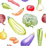 Seamless pattern with vegetables Stock Photo