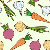 Seamless pattern from vegetables. Vector endless illustration Stock Photos