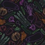 Seamless pattern with vegetables. Vegetarian menu. Eggplant tomato beets peas pepper zucchini radish cucumber broccoli garlic onio royalty free illustration