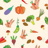 Seamless pattern with vegetables. Seamless pattern on a white background , vegetables illustrations Royalty Free Stock Photo