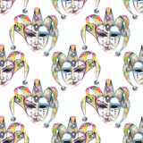 Seamless pattern with venetian masks of laughter and sadness emotions. Hand drawn on a white background Royalty Free Stock Photography