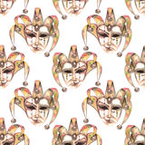 Seamless pattern with venetian masks of laughter and sadness emotions. Hand drawn on a white background in sepia color Stock Image