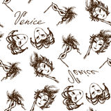 Seamless pattern venice carnival mask Royalty Free Stock Images