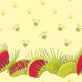 Seamless pattern with Venus Flytrap or Dionaea muscipula and cartoon flies on the yellow background. Stock Photos