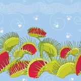 Seamless pattern with Venus Flytrap or Dionaea muscipula and cartoon white flies on the blue background. Royalty Free Stock Photography