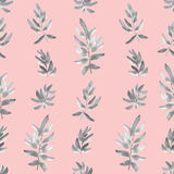 Seamless pattern vertical gray leaves on a pink background. Watercolor Royalty Free Stock Image