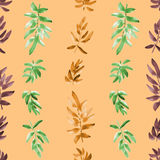 Seamless pattern vertical green, orange, burgundy leaves on a beige background. Watercolor stock images