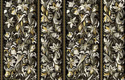 Seamless pattern with vertical stripes and floral hand drawing ornament. Vector wallpaper Stock Photo