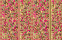 Seamless pattern with vertical stripes and floral hand drawing ornament. Vector wallpaper Royalty Free Stock Photos