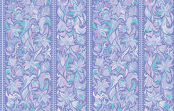 Seamless pattern with vertical stripes and floral hand drawing ornament. Vector wallpaper. Lilac Royalty Free Stock Photography