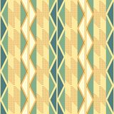 Seamless pattern of vertical stripes with zigzag and dots. Seamless abstract geometric pattern of vertical stripes with zigzag and dots in retro color palette Royalty Free Stock Photo