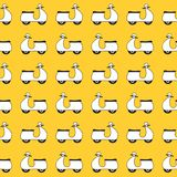 Seamless pattern with vespa scooters on yellow background Royalty Free Stock Photo