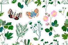 Dark garden with butterflies, herbs, flowers. Seamless pattern with Victorian motifs. Botanical illustration with different floral elements. Vector for textile Royalty Free Stock Image