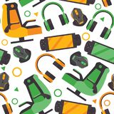 Seamless pattern with video game accessories like gamer chair, headphones, gamepad, mouse on white background. Vector repeat desig stock illustration