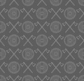Viking seamless pattern with axes and shields Royalty Free Stock Photos
