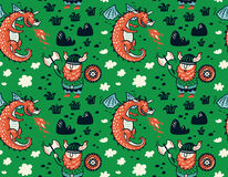 Seamless pattern with viking for design fabric, backgrounds, wrapping paper. Seamless pattern with viking and dragon in cartoon style. Funny vector illustration Royalty Free Stock Photography