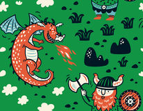 Seamless pattern with viking for design fabric, backgrounds, wrapping paper. Seamless pattern with viking and dragon in cartoon style. Funny vector illustration Stock Photo
