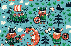 Seamless pattern with vikings for design fabric, backgrounds, wrapping paper Royalty Free Stock Photo