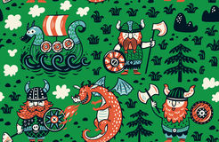 Seamless pattern with vikings for design fabric, backgrounds, wrapping paper. Seamless pattern with three vikings, dragon and ship in cartoon style. Funny vector Stock Images