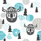 Seamless pattern with vikings faces Royalty Free Stock Photos