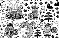 Seamless pattern with vikings in monochrome style. Seamless pattern with three vikings, dragon and ship in cartoon style. Monochrome vector illustration for kids Stock Image