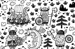 Seamless pattern with vikings. Vector contour background Stock Photo