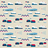Seamless pattern, village and whales Royalty Free Stock Photography