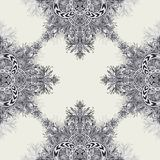 Seamless pattern from Vintage Abstract floral ornament black on white. In Zen tangle style made by trace. For creative design or for decoration different things Stock Photography