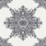 Seamless pattern from Vintage Abstract floral ornament black on white. In Zen tangle style made by trace. For creative design or for decoration different things Royalty Free Stock Images