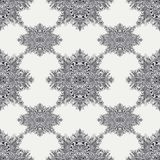 Seamless pattern from Vintage Abstract floral ornament black on white. In Zen tangle style made by trace. For creative design or for decoration different things Stock Image