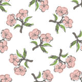 Seamless pattern with vintage apple twigs Stock Image